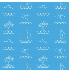 Blue seamless pattern with sailboat vector