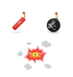 Bombs and explosion icons vector image