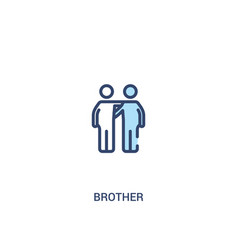 Brother concept 2 colored icon simple line vector