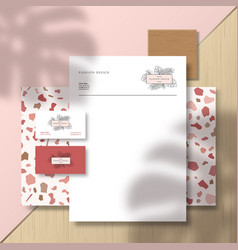 Business cards and letterhead on terrazzo pattern vector