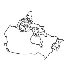Canada map of black contour curves of vector