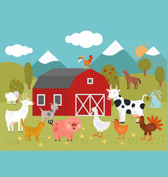 cartoon farm goat cat and pig goose and chicken vector image