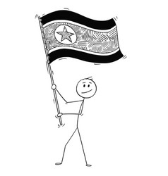 cartoon of man waving the flag of democratic vector image