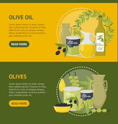 cartoon olive oil elements banner horizontal set vector image