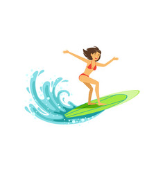 Cheerful female surfer riding a big wave water vector