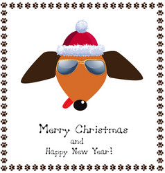 christmas and new year greeting card dog dressed vector image