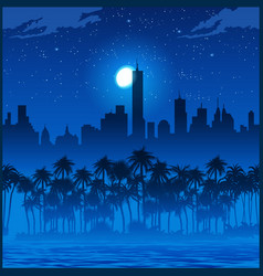 city and palm trees at night vector image