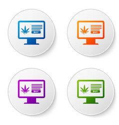 color computer monitor and medical marijuana or vector image