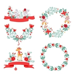 Colorful Christmas banners and laurels with vector