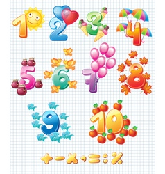 Colorful numbers for children vector image