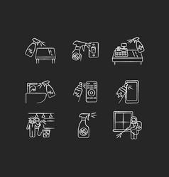 decontamination chalk white icons set on black vector image