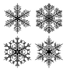 Decorative snowflakes set on white background vector