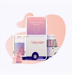 delivery truck arrives through smartphone screen vector image