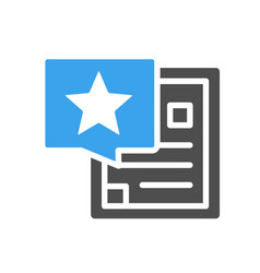 Document with star in speech bubble colored icon vector
