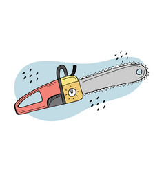 Doodle a chainsaw gardening power tools the vector