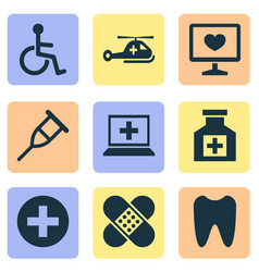 drug icons set with tooth helicopter computer vector image