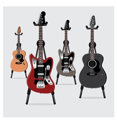 Electric Guitar and Acoustic Guitar set vector image