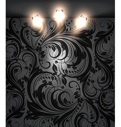 Empty Black Store Front with Seamless Floral vector image