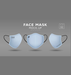 face mask with blue color fabric mockup set vector image