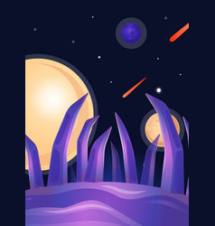 fantasy alien planet landscape with purple vector image