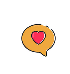 flat color love chat icon vector image