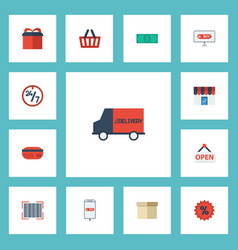 flat icons qr shop shopping and other vector image