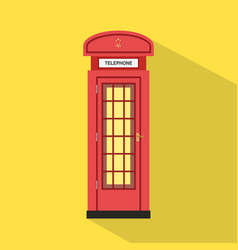 flat red pay phone with yellow background vector image