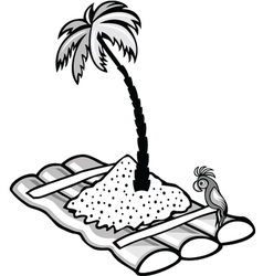 Floating raft with a palm tree vector