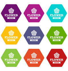 flower decoration icons set 9 vector image