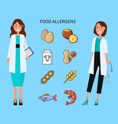 food allergens doctors with causing icons set vector image