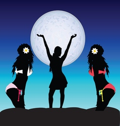 Girl set on moonlight vector