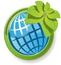 globe with flower vector image