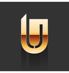 Gold Letter U Shape Logo Element vector image