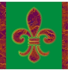 Golden line Fleur-de-lis on a green background vector image