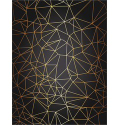 golden triangle grid on black gradient background vector image