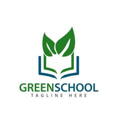 Green school logo template design vector