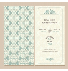 Green vintage wedding invitation vector