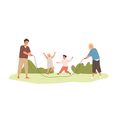 happy active kids jumping over skipping rope held vector image