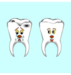 Happy healthy and sad sick teeth vector