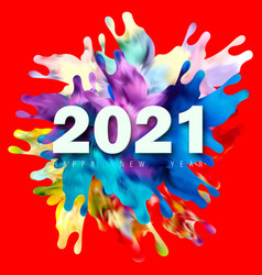 happy new year number 2021 with colorful vector image