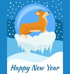 Happy new year postcard with corgi dog side view vector