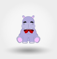 Hippo baby with red bow icon vector