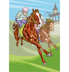 horse racing competition vector image