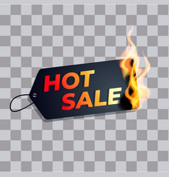hot sale label price tag burn in fire vector image