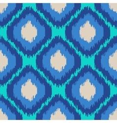 Ikat geometric seamless pattern turquoise blue vector