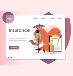 Insurance website landing page design vector
