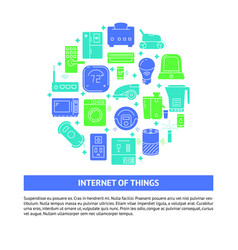 Internet things round concept banner in flat vector