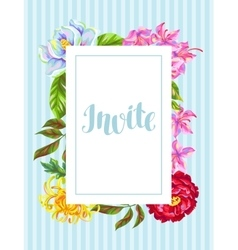 Invitation card with China flowers Bright buds of vector image