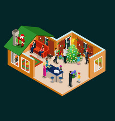 Isometric christmas holiday concept vector