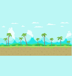 Jungle game background parallax ready layers vector